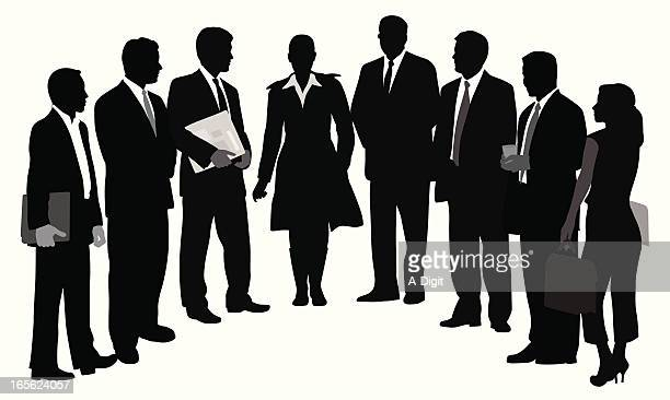 Business Line Up Vector Silhouette