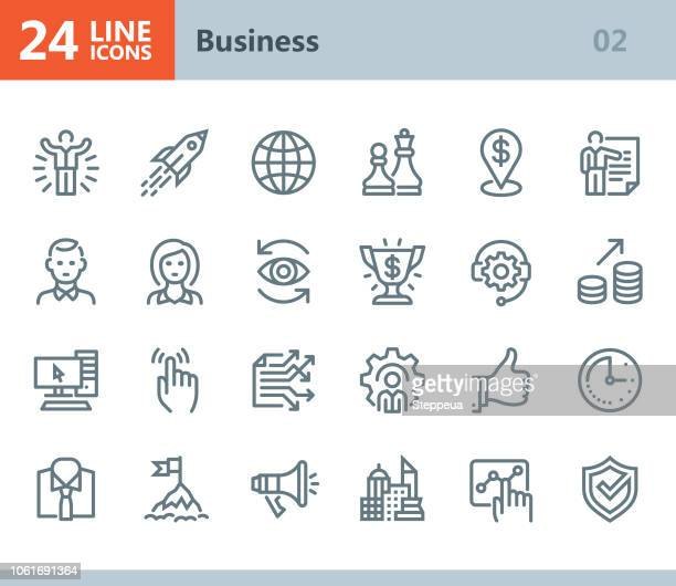 business - line vector icons - chess piece stock illustrations