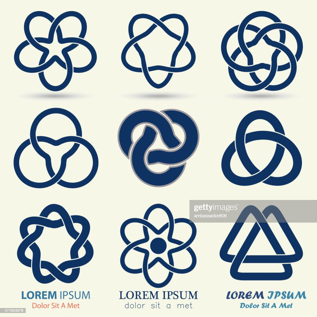 Business logo set, blue knot symbol