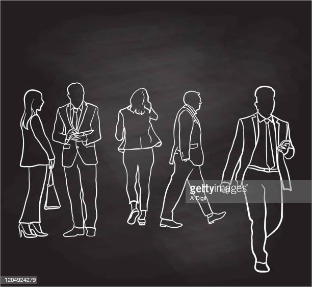 business lunch crowd downtown chalkboard - full suit stock illustrations