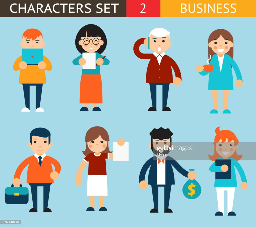 Business Male and Female Characters with Accessories Expressions Icons Set