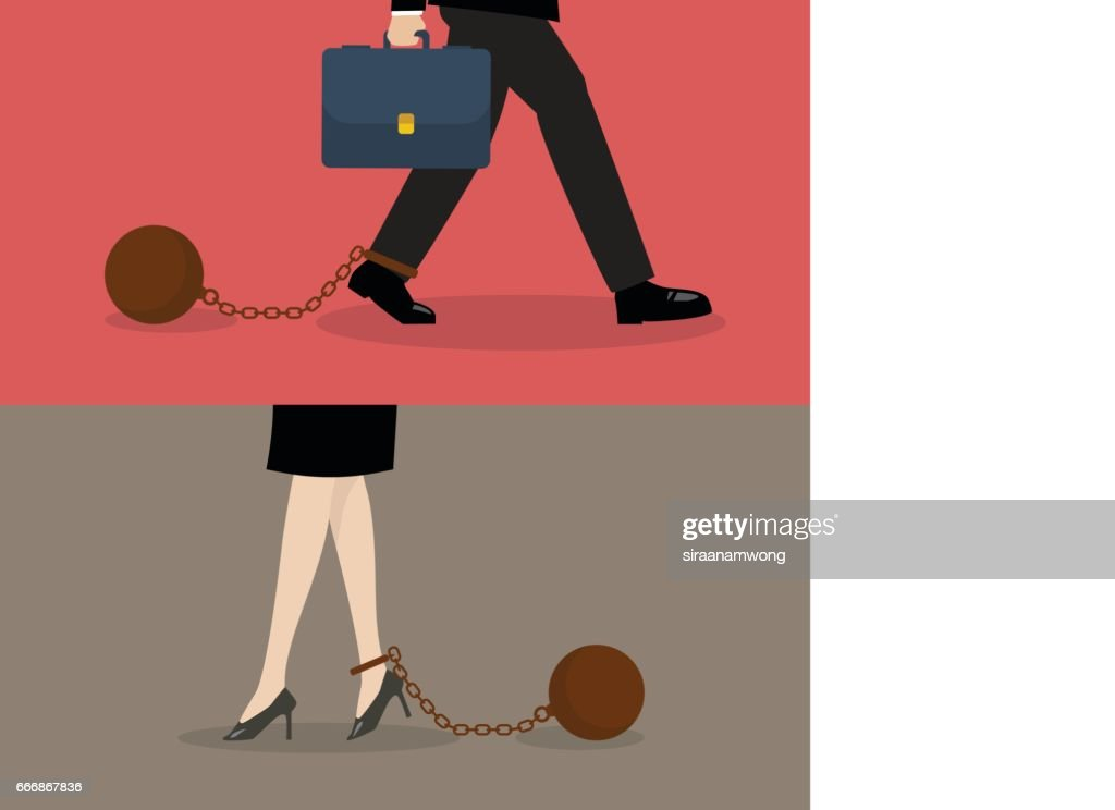 Business man and business woman with weight burden