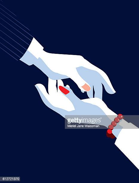 business man and businesswoman's hands reaching for each other - role model stock illustrations, clip art, cartoons, & icons