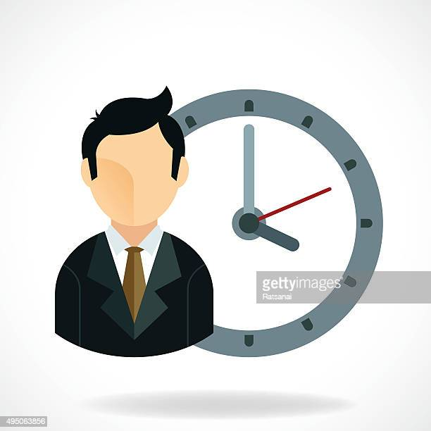 business man and clock icon - {{relatedsearchurl('county fair')}} stock illustrations, clip art, cartoons, & icons