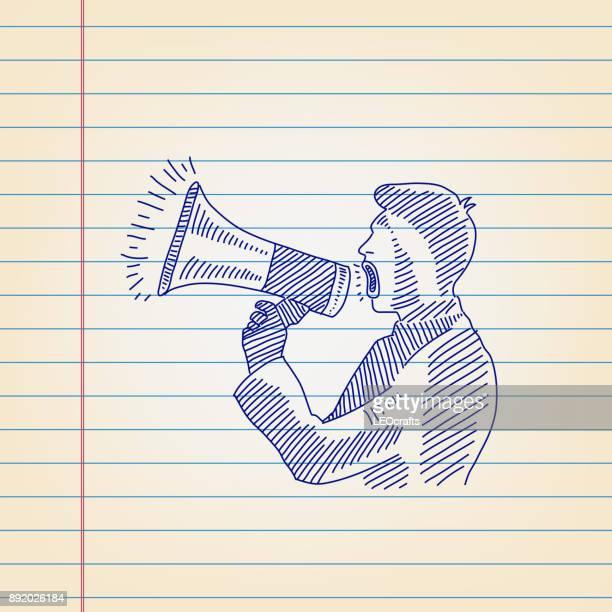 illustrations, cliparts, dessins animés et icônes de homme d'affaires annonce par mégaphone inspirant gouverné papier - porte voix