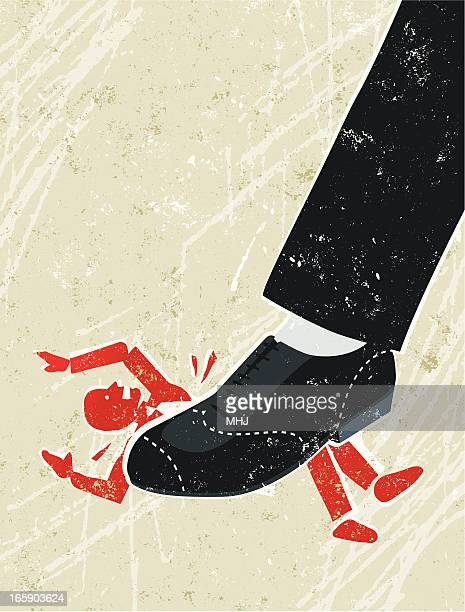 business man being crushed under a giant businessman's foot - office politics stock illustrations, clip art, cartoons, & icons