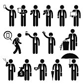 Business Man Businessman Holding Various Objects Pictogram