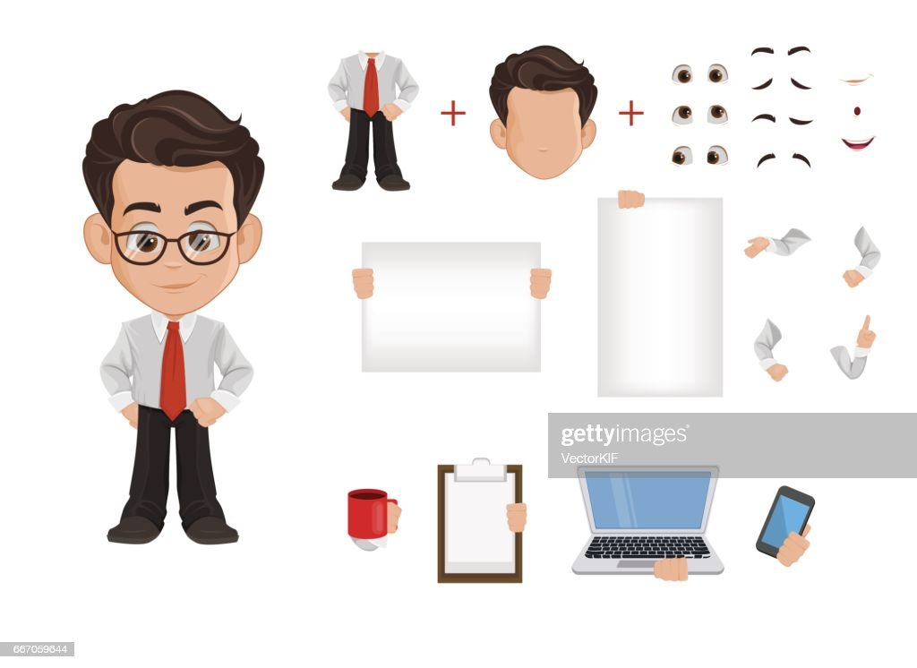 Business man cartoon character creation set, constructor. Cute young businessman in office clothes. Vector illustration