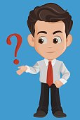 Business man cartoon character. Cute young businessman in office clothes having a question or problem, needs advise. Vector illustration