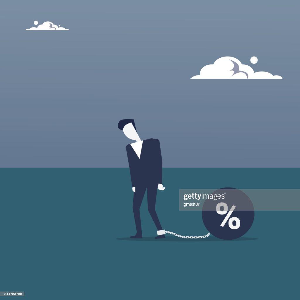 Business Man Chain Bound Legs Credit Debt Finance Crisis Concept