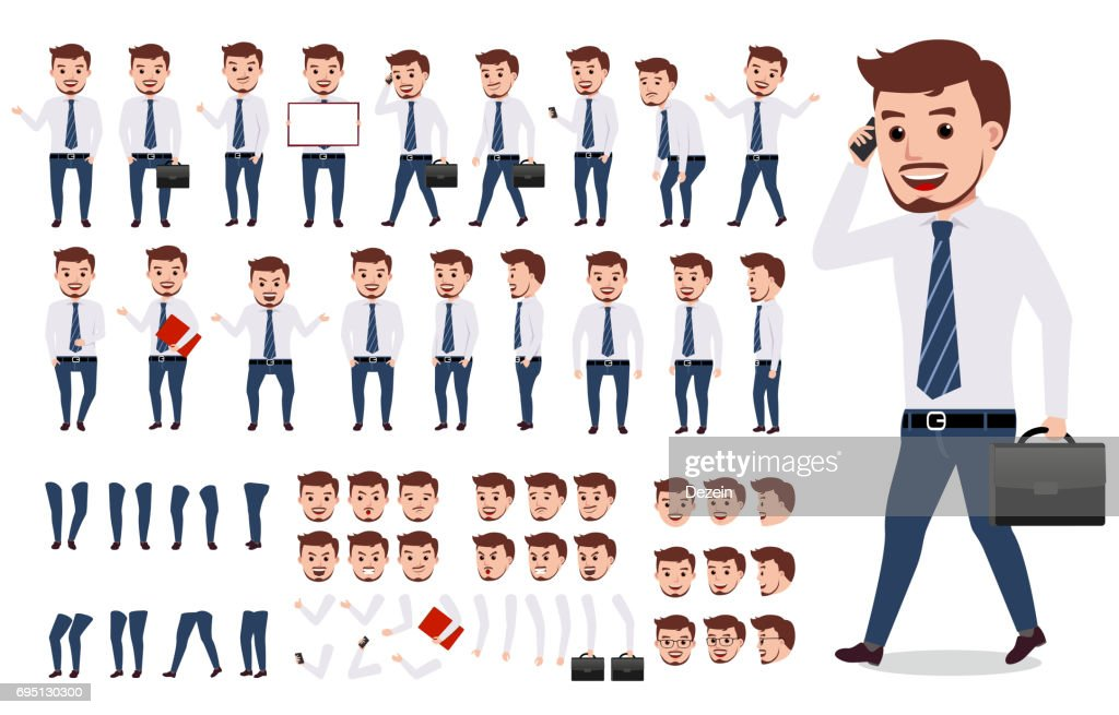 Business man character creation set. Male vector character walking