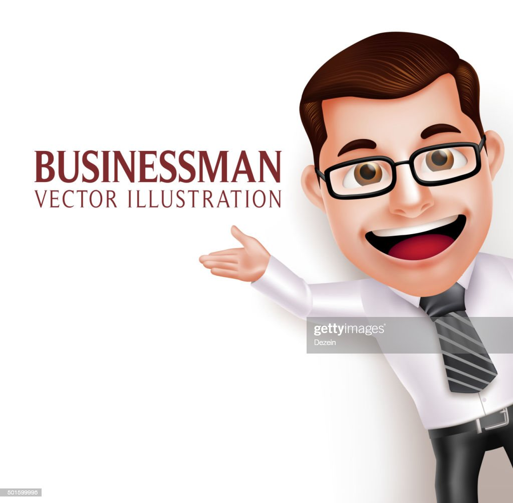 Business Man Character  Waving Hand for Presentation in Empty White