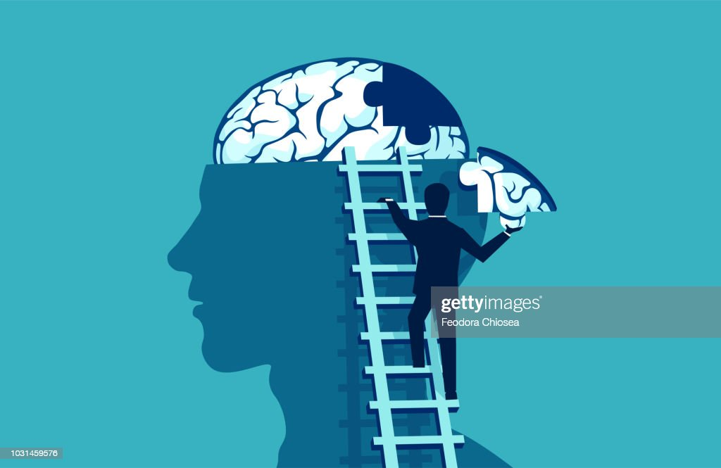 Business man climbing up the stairs reaching human head to add piece of brain : stock illustration