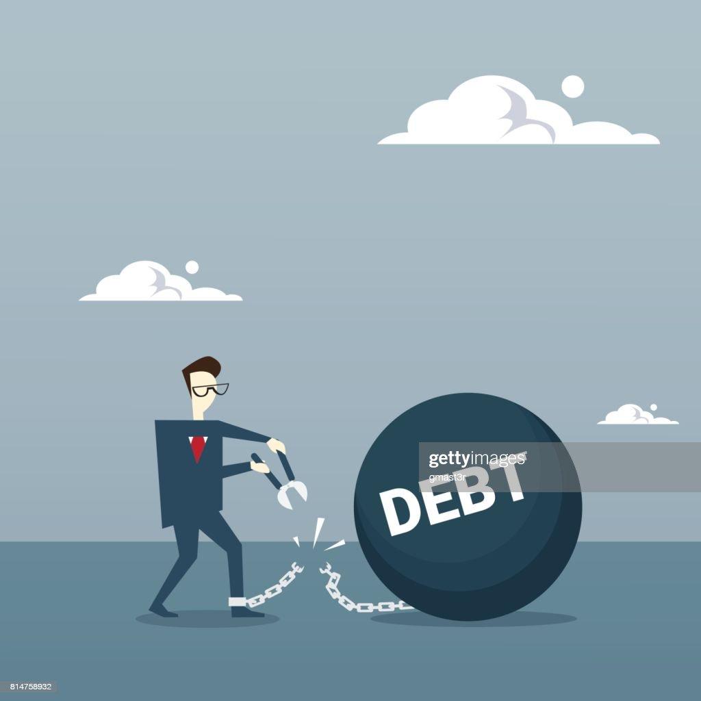 Business Man Cut Chain Bound Paid Credit Debt Finance Success Freedom Concept