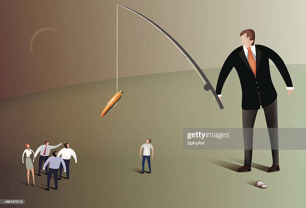 Business man fishing with carrot