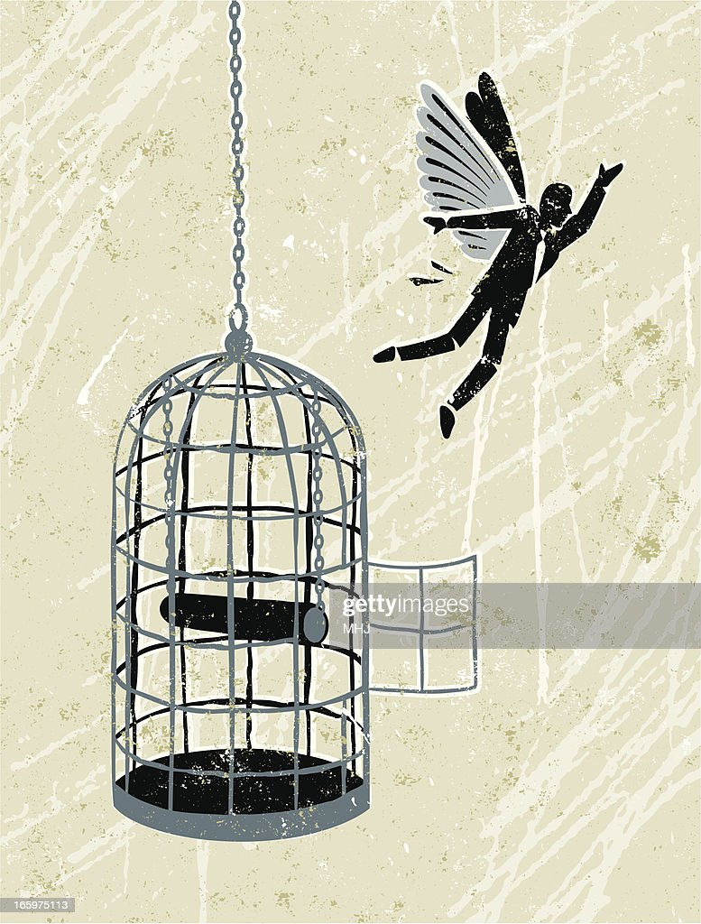 business man flying free from bird cage vector art getty images