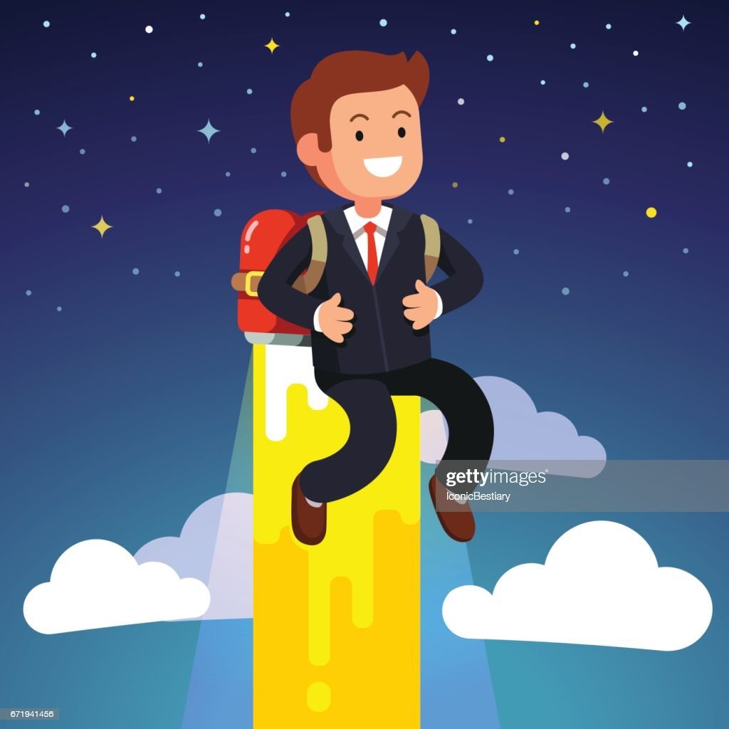 Business man flying on a jetpack fire engine