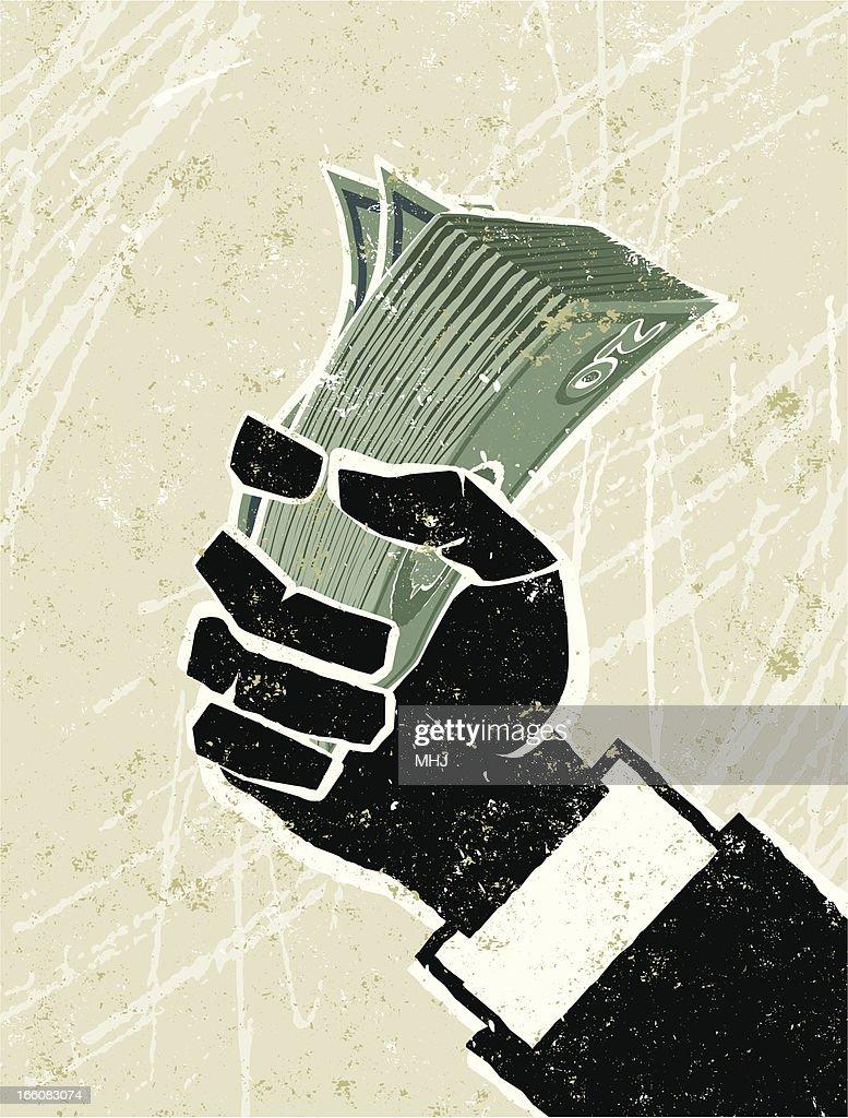 Business Man Hand holding Money