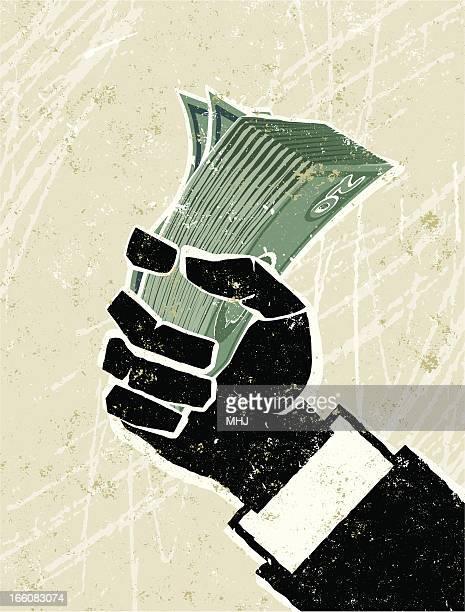 business man hand holding money - hoarding concept stock illustrations