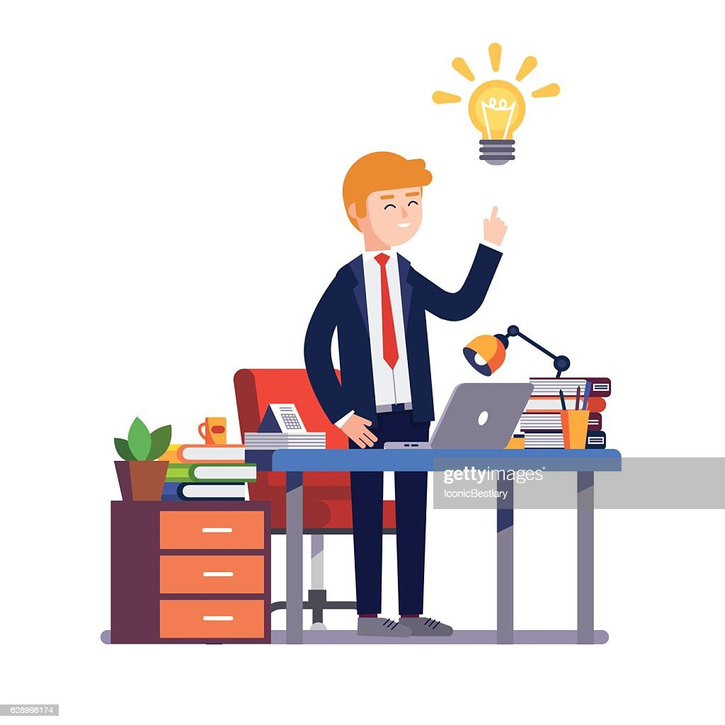 Business man having a new bright solution idea