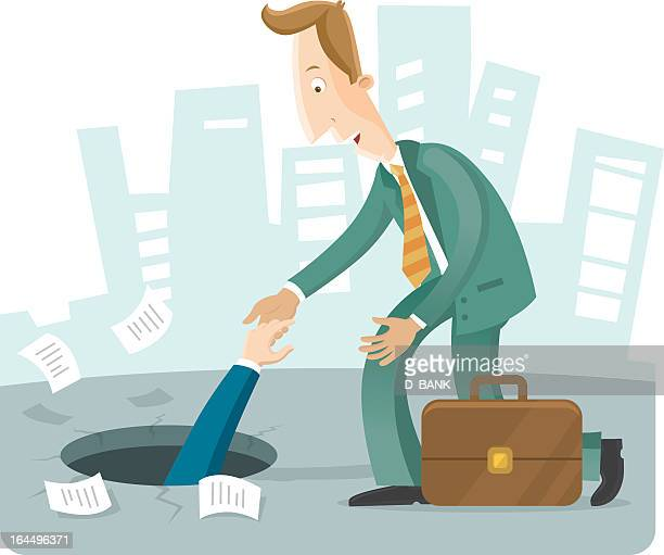 business man helping another man out of a hole - buried stock illustrations, clip art, cartoons, & icons
