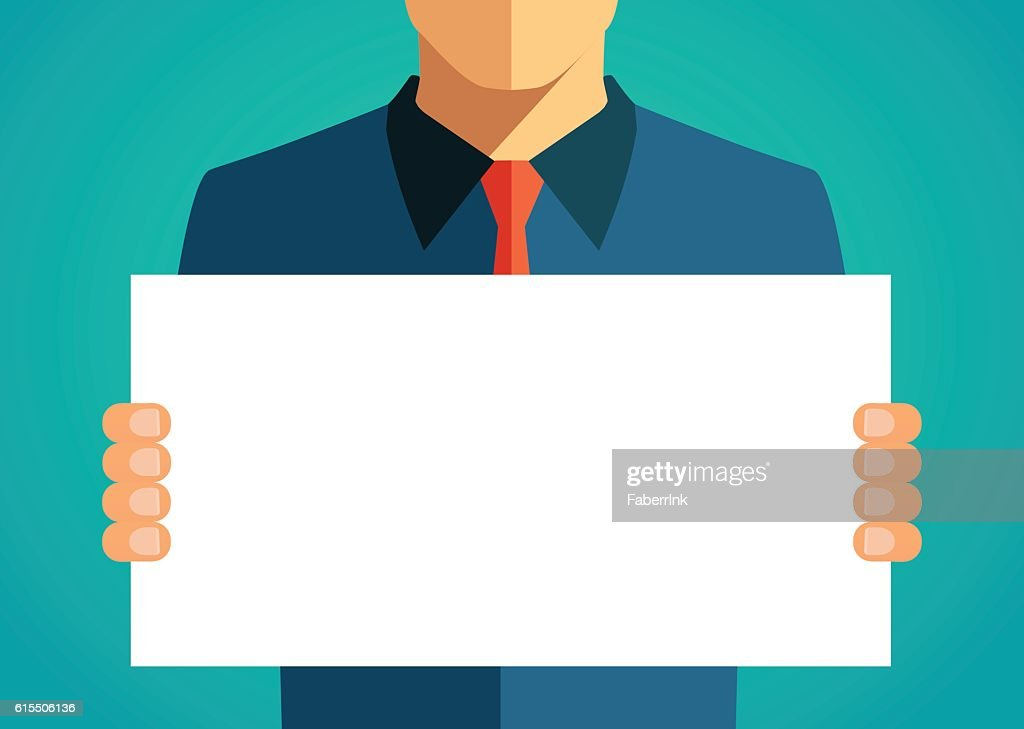 Business man holding a blank banner. Vector illustration