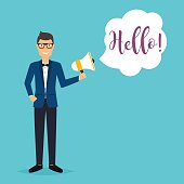 """Business man holding a megaphone with a message """"Hello!"""". Busine"""
