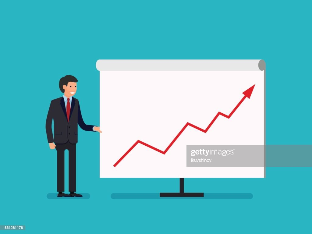 business man holding whiteboard presentation flat style cartoon