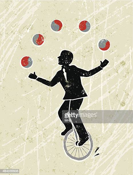 business man juggling balls whilst riding a unicycle - juggling stock illustrations, clip art, cartoons, & icons