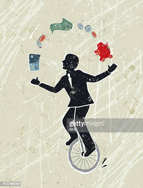 Business Man Juggling Money Icons Whilst Riding a Unicycle