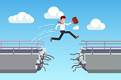 Business man jumping over broken bridge. Flat vector clipart illustration