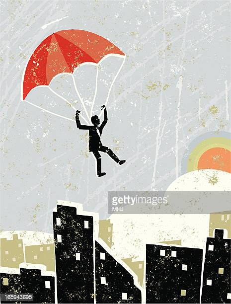 business man on parachute flying free over a cityscape - hope concept stock illustrations