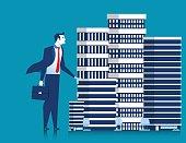 Business man owner of skyscraper buildings property standing. Concept real estate developer entrepreneur. Vector flat