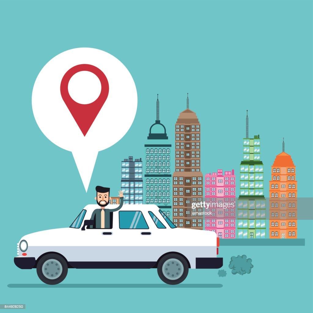 Business Man Pin Auto Stadt Kartenhintergrund Stock