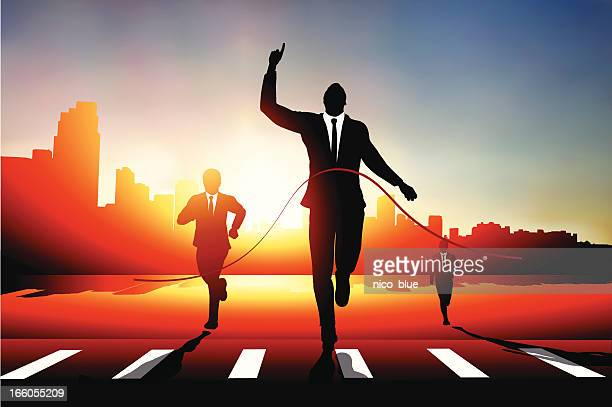 business man race - zebra crossing stock illustrations