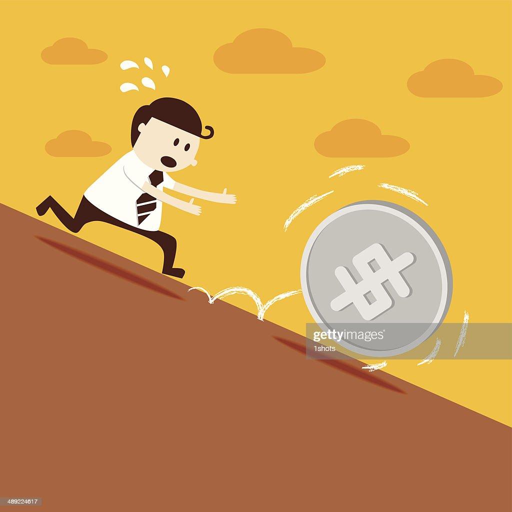 Business man run follow dollar coin