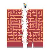 Business man running through maze breaking path. Flat vector clipart illustration