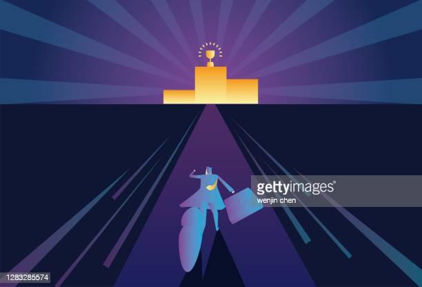 illustrazioni stock, clip art, cartoni animati e icone di tendenza di uomo d'affari in corsa verso il podio - winners podium