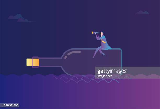 a business man sits on a drifting bottle and looks into the distance with a telescope, floating in the sea. - driftwood stock illustrations