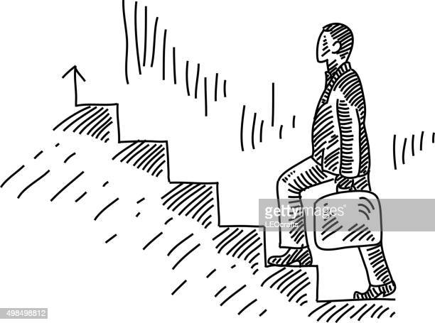 business man stepping up drawing - stepping stock illustrations, clip art, cartoons, & icons