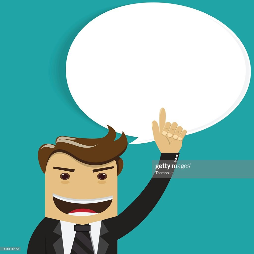 Business man thinking ,Hand pointing up - vector illustration