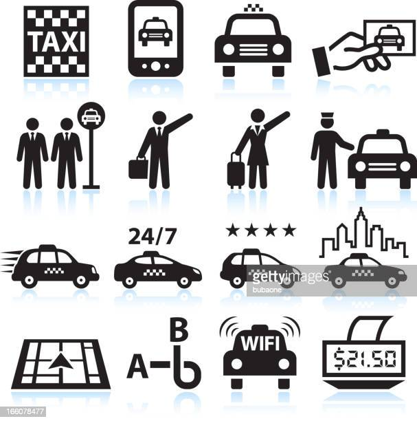 business man travelling taxi black & white vector icon set - taxi stock illustrations, clip art, cartoons, & icons