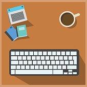 business man use dekstop computer,monitor and keyboard