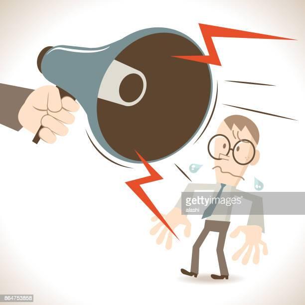 Business man using megaphone yelling at his employee