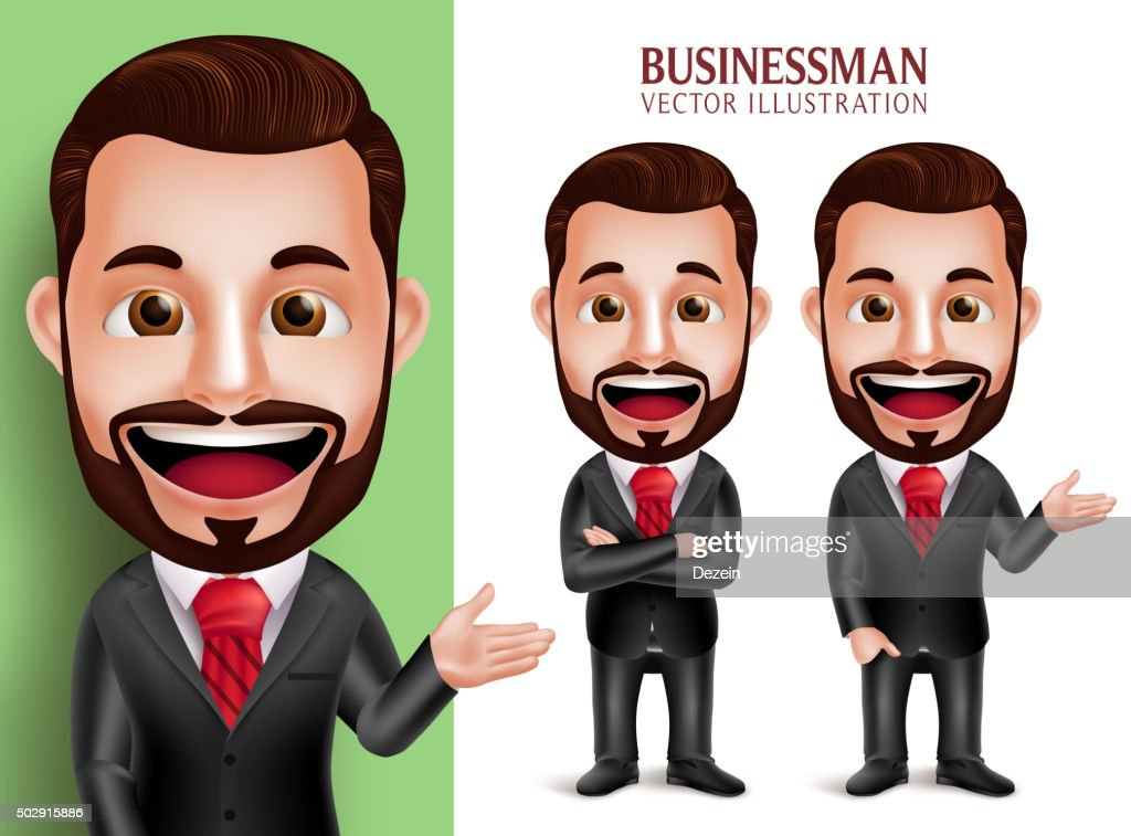 Business Man Vector Character Smiling in Corporate Attire for Presentation