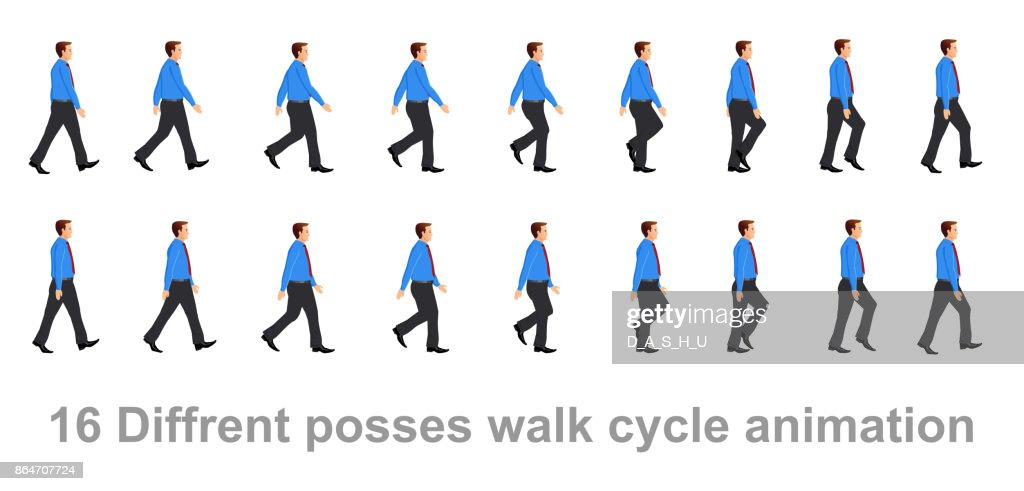 Business man walk cycle