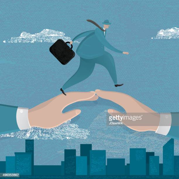 business man walking over two bridged hands - editorial stock illustrations