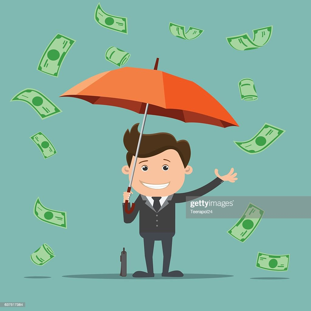 Business man with an umbrella and money , Business concept