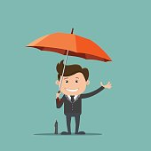 Business man with an umbrella , Business concept