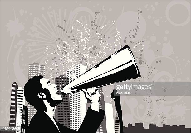 business man with announcement - political rally stock illustrations, clip art, cartoons, & icons